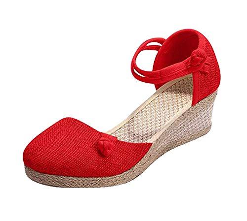 Rengzun Mujer Cuña Alpargatas Sandalias Verano Transpirable Zapatos Correa de Tobillo Zapatillas Sandals...