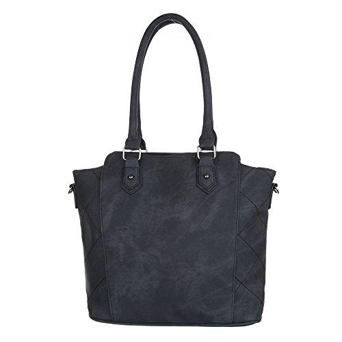 Damen Tasche, Schultertasche, Mittelgroße Handtasche Used Optik, Kunstleder, TA-5820 Schwarz