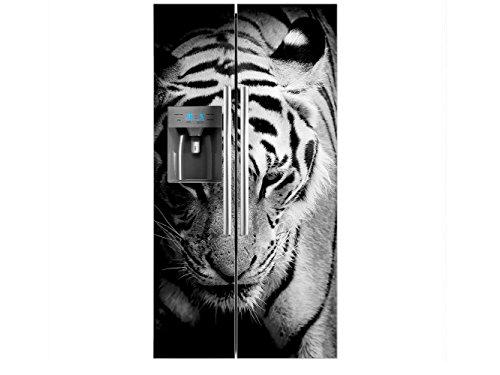 Vinilo Frigorífico Americano Cabeza Tigre Blanco y Negro | 91x179cm | Varias...