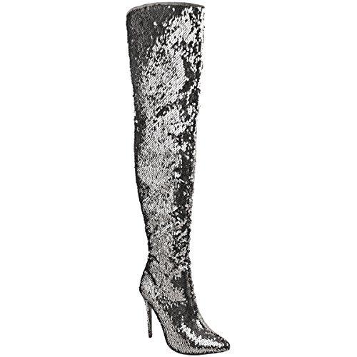 Damen Overknee-Stiefel mit Pailletten - hoher Absatz - Metallic - Silberfarben-Metallic Pailletten - EUR 39 (Stiefel Pailletten Schuhe)