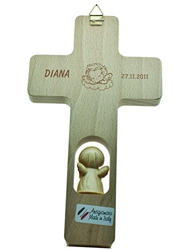 Kreuz mit Engel 'Ich Bin .' Kinderkreuz Holzkreuz Schutzengel 102862 mit Gravur (Rückseite) - 4
