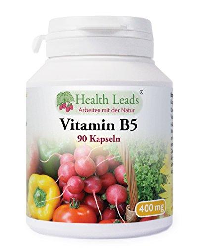 Vitamin B5 (Pantothensäure) 400 mg x 90 Kapseln (Ohne Magnesiumstearat)