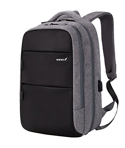 wewo 15.6 Zoll Laptop Rucksack Herren Business Laptoprucksack Nylon Wasserdichter Notebook Backpack Teenager Mit USB Schulrucksack Jungen Leichter Rucksäcke Arbeit Groß