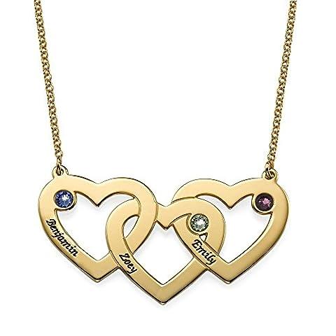 Vergoldete verflochtene Herzen Kette mit Geburtssteinen - Personalisiert mit Ihrem eigenen 3 Wunschnamen