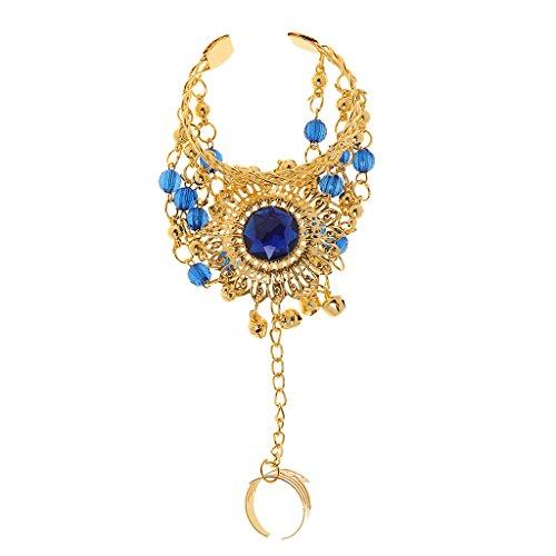 Generic Femme Strass Cristal Collier + Boucles D'oreilles + Bracelets Têtière Bijoux Mariée Costume Décor Fête Mariage Danse Bleu