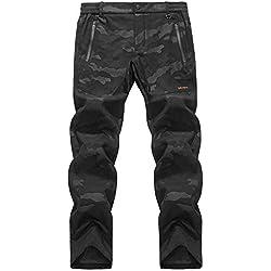 LY4U Outdoor Hommes randonnée Camping imperméable à l'eau Douce en Molleton Doublure épaisse Chaude résistant à l'usure Hiver Pantalon Camouflage Pantalon