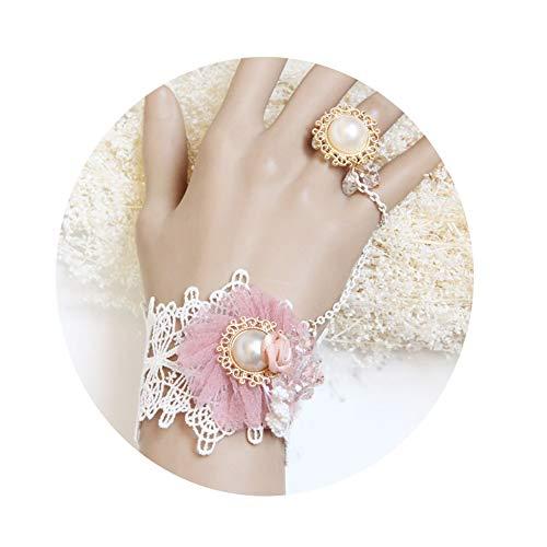 Partei Kostüm Piraten - MLSJM Frauen-Armbänder Mit Ring, Handgemachter Gotischer Prinzessin Lace Flower Wrist Jewelry, Künstliche Perlen-Kristallarmbänder, Brauthochzeits-Kostüm-Partei