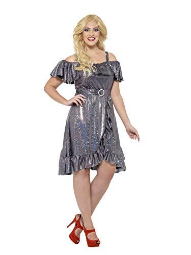 Smiffys 24342X2 - Damen 70er Jahre Disco Diva Kostüm, Größe: 52-54, silber