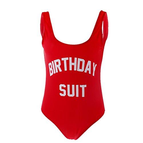 Baosity Birthday Suit Letter Print Women Bikini Swimsuit Beachwear Monokini L Red