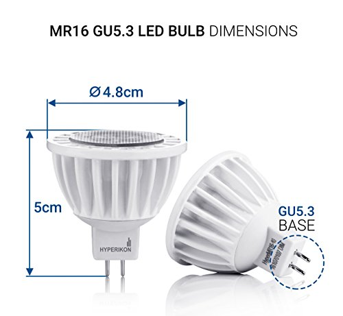 hyperikon mr16 gu5 3 led bulb 7w 50w warm white 2700k. Black Bedroom Furniture Sets. Home Design Ideas