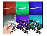 LED RGB Glaskantenbeleuchtung mit Fernbedienung Helitec 6-er Set / 2279-6/ Glaskantenleuchten LED Clip Glasplattenbeleuchtung Vitrinenbeleuchtung Glasbodenbeleuchtung