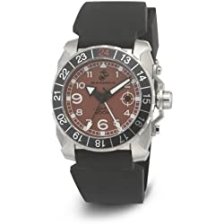 Wrist Armor Men's WA139 C3 Stainless Steel Analog Display Swiss Quartz GMT Watch with Black Silicone Strap