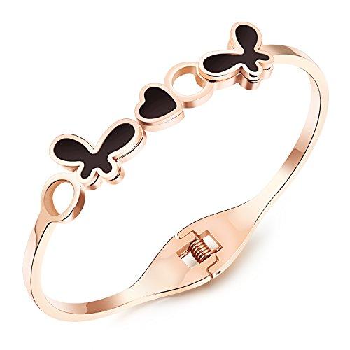 M. JVisun farfalla e cuore nero resina epossidica acciaio inossidabile Hot donne braccialetti Bangle, oro rosa, 6.69
