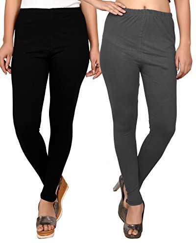 Black and Grey combo leggings for women -ankle leggings Combo-Best Quality 20 Plus Color Legging variations - Pack of combo- Ankle Length- Original -fine fabric only for girls / Women -Size- (L,XL,XXL Size)-Cotton fabric legging-Stretchable-fit to waist Size by Roop Trading Co