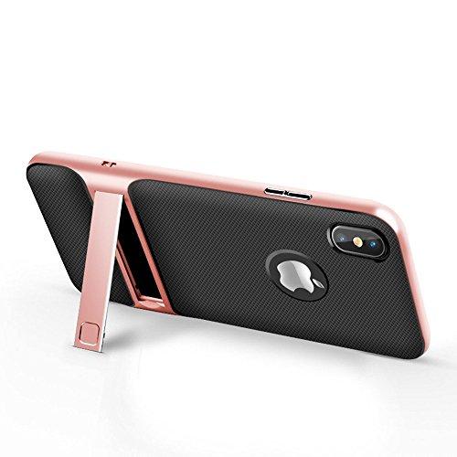 iPhone X/10 Hülle, 2 In 1 Ultra Thin TPU + PC Anti-Scratch Stoßdämpfung Stoßstange Abdeckung mit Klammerfunktion Handy Hülle für iPhone X, 2017 (iPhone X, Rose Gold) Os Handys