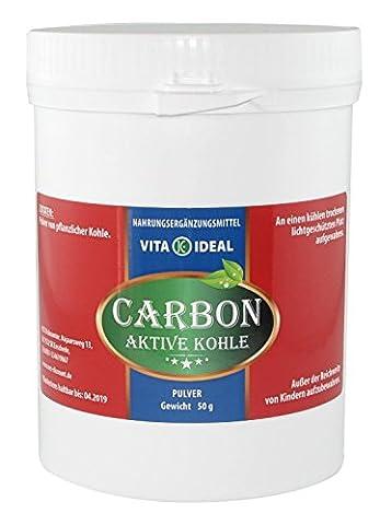 Medizinische Aktive Kohle 50g, Aktivkohle, reines pflanzliches Pulver, Digestif, Mundhygiene,