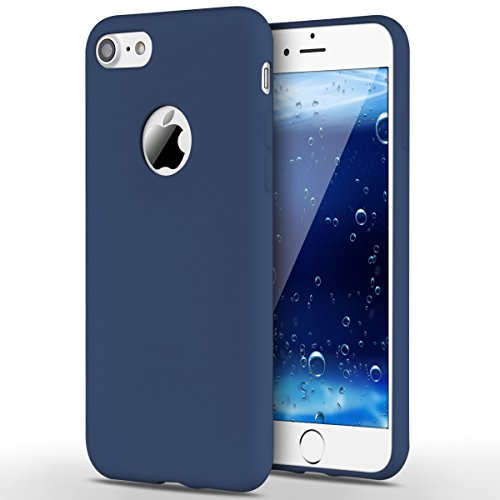 Funda iPhone 7, Yokata Silicona TPU Pluma Ultra Delgado Ligero Elegante Suave Mate Carcasa Trasera Fantasía Caprichoso Kawaii Adorable Diseño Flexible Case Bumper Resistente a los Arañazos Anti Choque Anti-deslizante Soft Protectora Cover - Candy Azul Marino