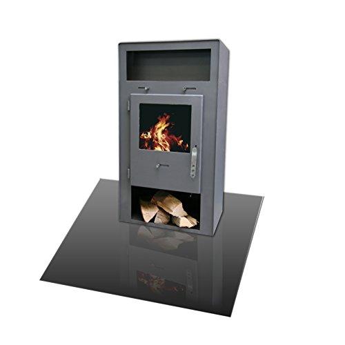 Kamino-Flam Bodenplatte rechteckig in Grau, geeignet als Kaminbodenplatte, Platte aus Stahlblech, hitzebeständig lackierte Bodenplatte zum Funkenschutz, Maße: ca. 120 x 100 x 0,2 cm