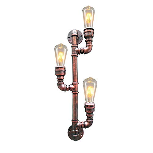 Msoteey Steampunk Dreikopf-Industrie Wind-Wand-Leuchter Retro Schmiedeeisen Wasserrohr-Wandleuchte LoftVintage Persönlichkeit kreative Dreiköpfiger Dekorative Coffee Shop LED-Wandleuchte -