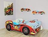 Alcube | Kinderbett Auto-Bett Formel 1 - Topcar | 160 x 80 cm | mit Rausfallschutz, Lattenrost und Matratze | MDF beschichtet