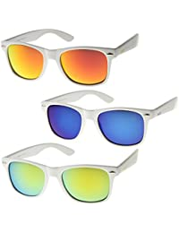 652d1adb9e6 zeroUV - Hipster Fashion Flash Color Mirror Lens Horn Rimmed Style  Sunglasses (3-Pack