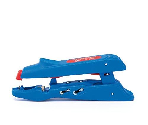 WEICON Duo-Crimp No.300 | 3 in 1 Abisolierer & Crimpzange | Abisolierzange mit Crimpfunktion für Aderendhülsen 0,5 - 6 mm² | Abisolierwerkzeug mit Seitenschneider | TÜV | blau / rot | 100% Made in Germany (Automatische Draht-crimp-werkzeug)