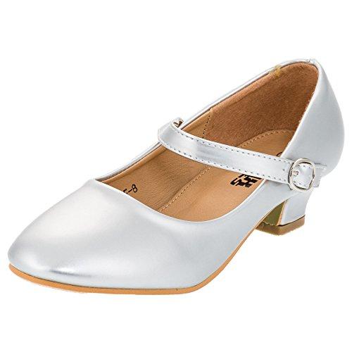 Max Shoes Festliche Mädchen Pumps Ballerina Schuhe Absatz Lackoptik in Vielen Farben M322si Silber Gr.32