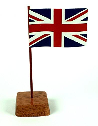 Set 2 Stück Mini Tischflagge Großbritannien Union Jack 67x44 mm mit Ständer aus Holz, Gesamthöhe ca. 130 mm Tisch Flagge Fahne -