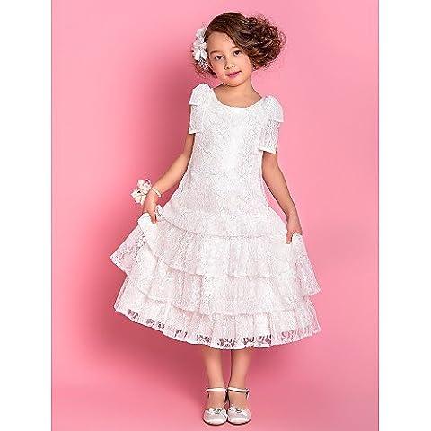 ZY/A-Line/Princess tea-length Flower Girl Dress–Lace senza maniche, White, child-14