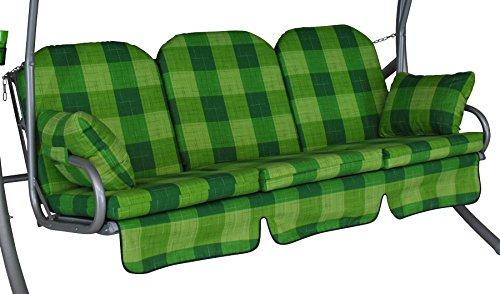 Angerer 1018/143 Deluxe-Schaukelauflage, 3-Sitzer Design Dublin, grün