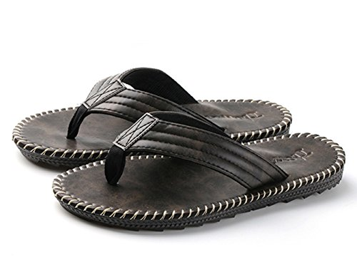 Herren Sommer Slip On Kühle Dunkel Britische Stil Handwerk Lässige Zehentrenner Slippers Sandalen Schwarz Rgikpxwbby