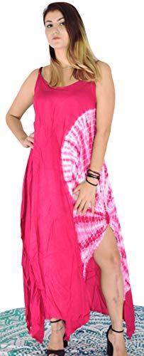 Third Eye Export, Vintage-Stil, indische 90er-Jahre, Hippie-Kleid mit Krawatte, indisches Muster, für den Strand, ärmellos, Bohemian-Stil, für Frauen und Mädchen, modisches Viskosekleid X-Large Rose