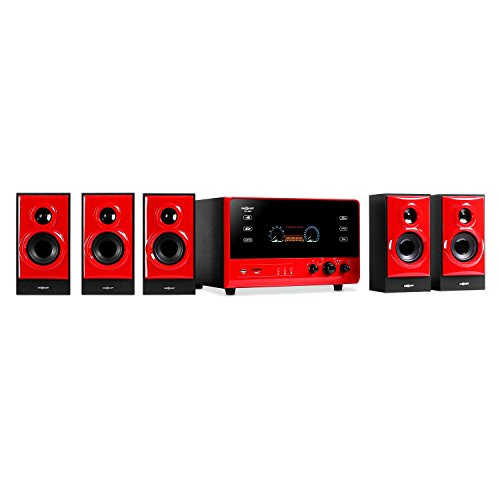 "oneConcept V51 • 5.1 Surround Sound System • Heimkinosystem • 70 Watt RMS • Aktiv Subwoofer • 10cm (4"") Side-Firing-Tieftöner • Bassreflex • 5 Satellitenlautsprecher • USB-Port • SD-Slot • AUX • UKW Radiotuner • VFD-Display • Fernbedienung • rot"