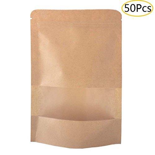 Sumdirect 50 pcs12x20cm Kraft Fermeture Éclair Stand Up Sacs pochettes avec encoche et de fenêtres de mat 4.7\