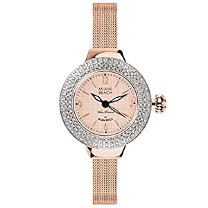 Glam Rock Miami Beach Art Deco collection MBD27182 36mm Stainless Steel Case Rose Gold Gold Plated Stainless Steel Mineral Women's Watch