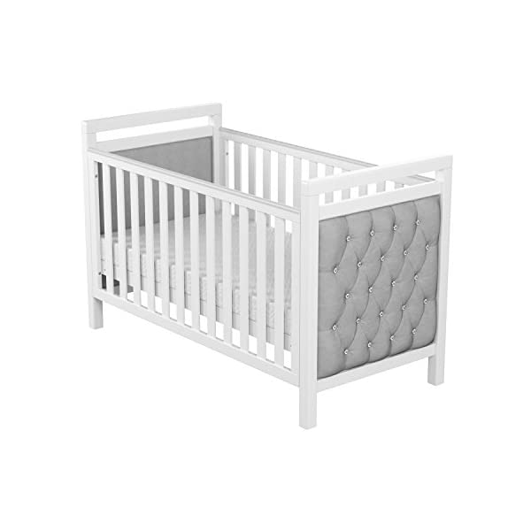 Babymore Velvet Deluxe Cot Bed  Diamante and velvet tufted upholstery Distinctive design for nursery Generous 5 cm solid wood structure, last for years of use 5