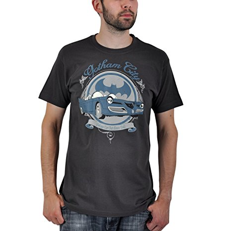 Batman - camiseta del batmóvil retro - vintage - estampado frontal - cuello redondo - algodón - gris - XXL