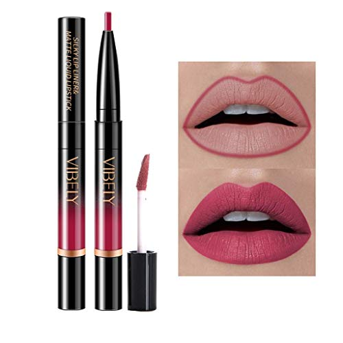 Double Lip Gloss (Rechoo 7 Pcs Double Ended Lip Liner Lip Gloss 2 in 1 Matte Long-lasting Kiss-proof Liquid Lipstick Pen for Valentine's Day Halloween Birthday Gift (#8-14))