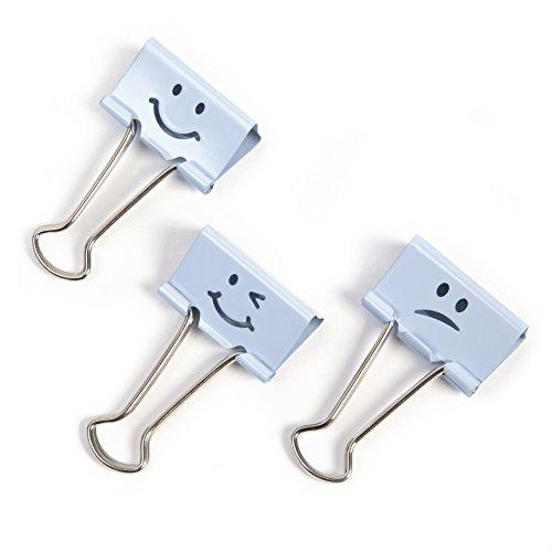 Rapesco - Caja de 20 pinzas / clips de 19mm, hasta 75 hojas en varios emojis de color azul