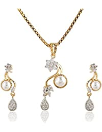 SKN Silver And Golden American Diamond Pearl Pendant Set With Box Chain For Women & Girls (SKN-1153)