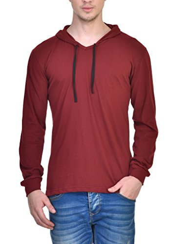 INKOVY Men's Hooded Full Sleeve Cotton T-Shirt [MAROON_Medium]