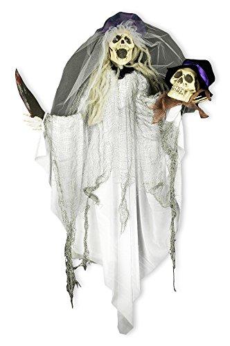 Zombie Braut mit Schädel Deko Animiert 80x60 cm - Grusel Horror Geisterbraut Dekoration Hängend zur Halloween Mottoparty (Halloween Animierte Deko)