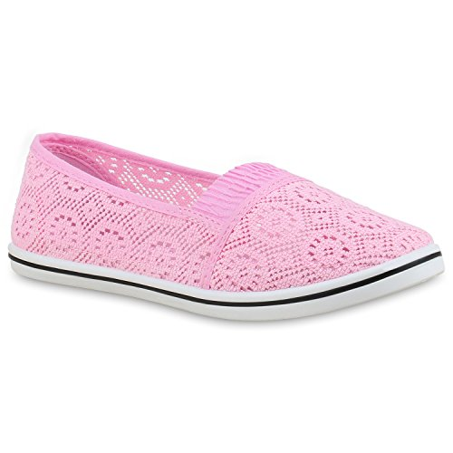Damen Slip-ons Slipper Stoffschuhe Spitze Freizeit Schuhe Rosa