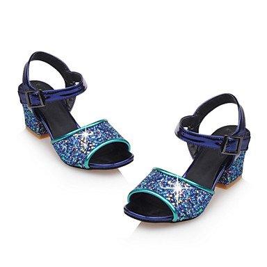 LvYuan Da donna-Sandali-Serata e festa Formale Casual-Club Shoes-Quadrato-Materiali personalizzati Vernice Lustrini-Nero Blu Rosa Blue