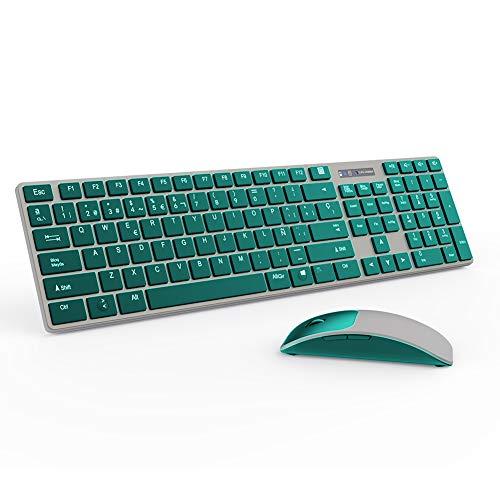 M-T-K, kabellose Tastatur und Maus Kombi, volle Größe, 2,4 G schnurlose Tastatur und Maus, Plug-and-Play, für Windows, 104 Tasten, kompatibel mit Windows, Desktop Computer, Laptop, PC (1) 1 violett