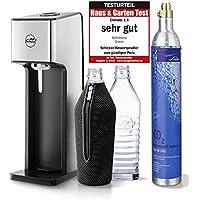 mySodapop Sharon Up! Glaskaraffen Wassersprudler inkl. 2 Glasflaschen 1L (Spülmaschinenfest 850ml Soda) und 1 CO2-Zylinder (425G) - Nachfolger zu mySodapop Sharon