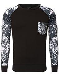 Carisma Pullover Sweatshirt Pulli mit Blumen Ärmeln Brusttasche