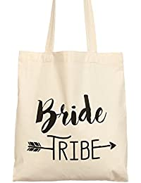 Ling's Moment Bride Tribe Wedding Bachelorette Party Welcome Gift Tote Bag - 100% Organic Cotton,Reusable,Washable...