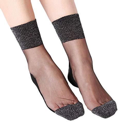 Kinlene Summer Women Ladies Sheer Silky Glitter Transparent Long Stockings Ankle Socks