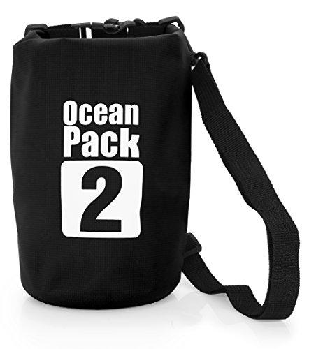 MyGadget wasserdichte Dry Bag 2L - Trockenbeutel Wasserfeste PVC Drybag Tasche | Schutz vor Wasser & Nässe Outdoor Beutel Urlaub Trockentasche - Schwarz 2 Liter Mini